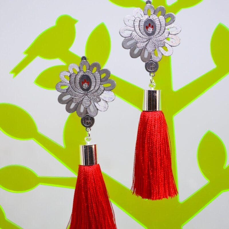 13. Aurora FolkGlamour Matyó virág Mini fülbevaló piros