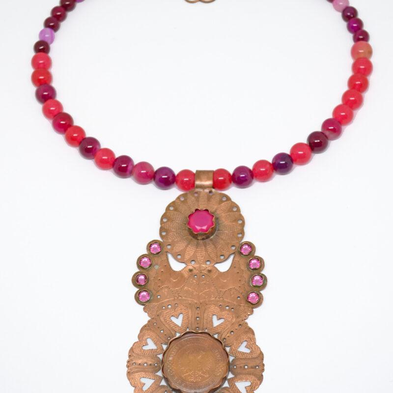 22. Aurora FolkGlamour tűzaranyozott türkizkék nyakék és fülbevaló